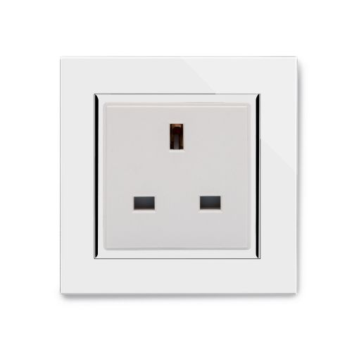 RetroTouch Single Plug Socket 13A Unswitched White Glass CT 04041